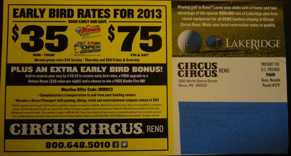 Circus Circus USBC tournament specials flyer